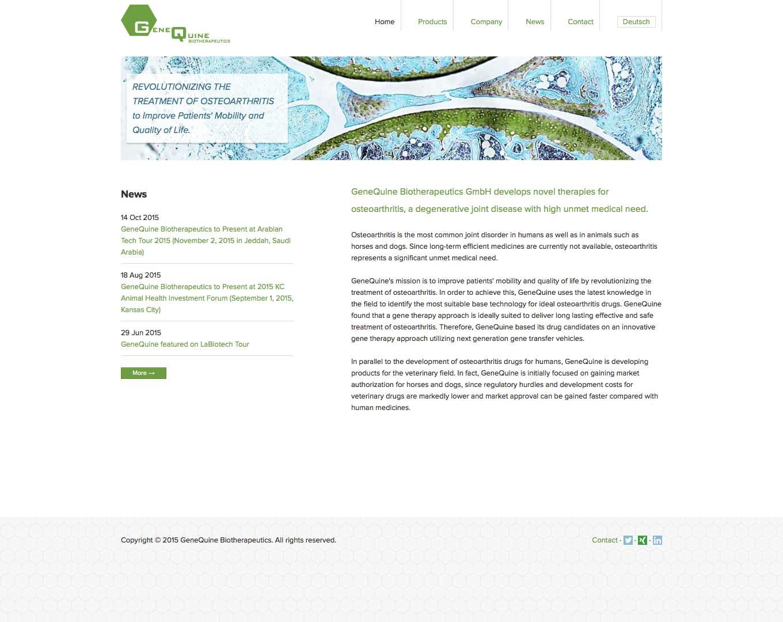 Webdesign Genequine Biotherapeutics